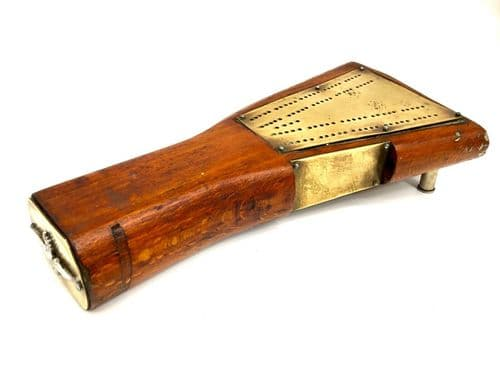 Antique Wooden Cribbage Board Made From the Comb / Stock of a Rifle & Cap Badge